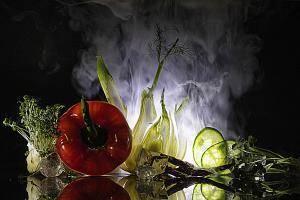 Gemüse im Nebel